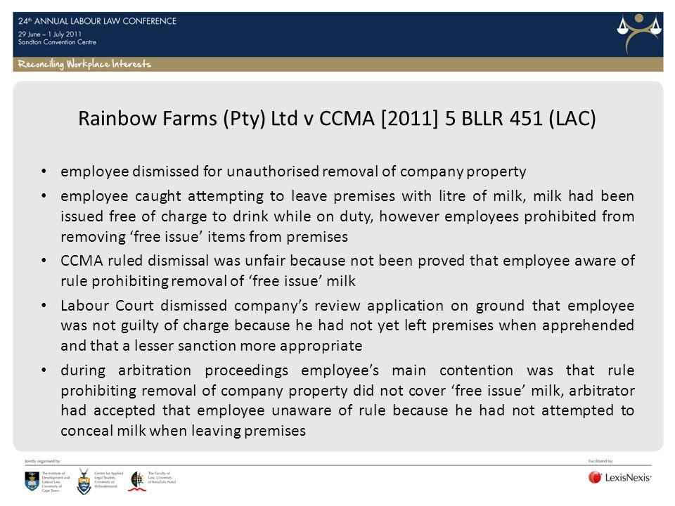 Rainbow Farms (Pty) Ltd v CCMA [2011] 5 BLLR 451 (LAC)